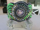 Bead Embroidered Cuff Bracelet w/ Glass Steampunk Cabochons and Faceted Crystals