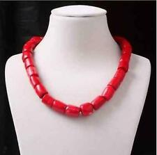 "Charm Red Cylinder Coral Bead Necklace Gemstones Woman Fashion Jewelry 18"" AAA"