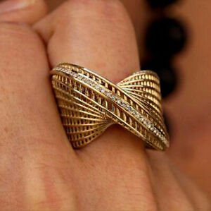 Fine Jewelry 18 Kt Hallmark Real Solid Yellow Gold CZ Women'S Ring Size 6,7,8,9