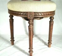 ANTIQUE EARLY 20th CENTURY LOUIS XVI CARVED WOOD AND FABRIC FOOTSTOOL