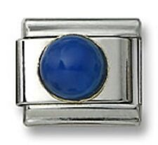 18K Gold Italian Charm Blue Agate Stone Round Stainless Steel 9 mm Modular Link