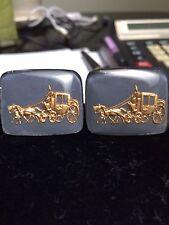 Vintage Intaglio Stagecoach  Glass Cameo Cufflinks -1950's..