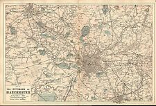 1881 HAND COLOURED MAP ~ MANCHESTER ENVIRONS ~ RAILWAY COMPANY LINES & STATIONS