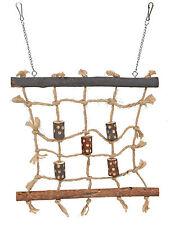 Natural Wood & Rope Climbing Wall Bird Toy Cargo Net Budgies Canaries