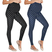 Women Maternity Leggings Seamless Dot Print Long Pants Stretch Pregnant Trousers