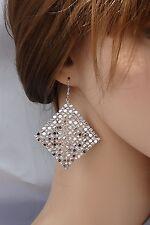 Orecchini Argento strass cristalli, cerimonia ELEGANTE Moda donna,idea regalo