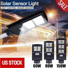 150W Outdoor Commercial LED Solar Street Light Dusk Dawn PIR Sensor Post Light