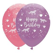 Unicorn Fantasy Printed Balloons Suitable for Air or Helium 6pack Colourful 30cm