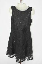The Children's Place Girls Black  Lace Sleeveless Embellished A-Line Dress 12