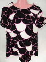 New Tori Richard Honolulu Womens Top Sz 6 Black Pink Stretch Ponte Knit NWT $135