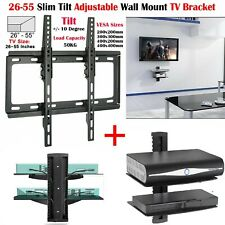 "26"" - 55"" Tilt TV Wall Bracket Mount with Double Glass Shelf DVD Player Sky Xbox"
