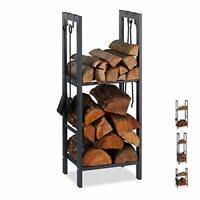 Relaxdays 2-Tier Firewood Rack, Steel Wood Pile Shelf, 4 Hooks For Fireplace