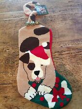 Boxer Bull Dog Christmas Stocking Brown Spotted puppy Santa Hat NWT