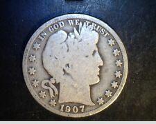 1907 US Barber Half, Circulated Average Grade .3617 Oz Silver (US-5567)