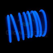 "(50) 8"" GLOW LIGHT STICKS BRACELETS - NEON BLUE - PREMIUM - GLO LITE PARTY"
