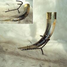 Viking Brass Rimmed Earth Design Drinking Cow Horn