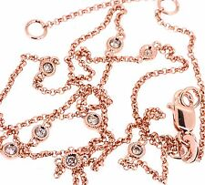 "Champagne Brown Diamond By The Yard Necklace 14k Rose Pink Gold 16"" 18"" Chain"
