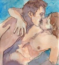 ORIGINAL LARGE MALE NUDE Watercolor -PASSION- by GERMANIA