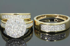 10K YELLOW GOLD 2 CARAT MEN WOMEN DIAMOND TRIO ENGAGEMENT WEDDING RING BAND SET