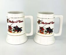 Lot of 2 White Medieval Times Jousting Knights Ceramic Beer Steins Mugs