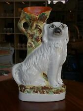 Antique Victorian Staffordshire Spaniel Dog Spill Vase Figure 19th Century