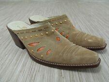 Cole Haan Morgan Tan Suede Leather Orange Western Mule Boots Women's Size US 9 B