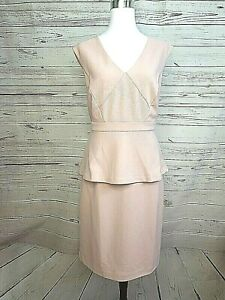 JACQUI E womens sleeveless peplum sheath dress light pink size M polka dot #705