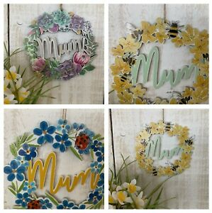 Mother's Day Wood Sign Gift Bumble Bee Flower Forget me Not Gisela Graham Mum