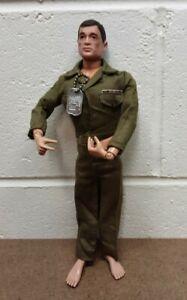 "Vintage Hasbro 1964 12"" GI Joe Talking Soldier Action Figure Black Painted Hair"