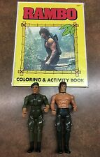 Rambo Lot of 2 Action Figures and MINT Coloring Book Trautman 1985