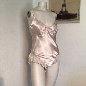 Vintage Secret Treasures Teddy Bodysuit Shiny Pink Satin Flutter M