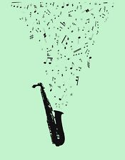 METAL MAGNET Saxophone Music Notes Musical Instrument Green Background MAGNET