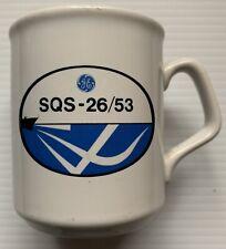 1970s 1980s GENERAL ELECTRIC SQS-26/53 SONAR U.S. NAVY COFFEE MUG, VINTAGE