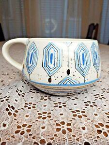 Anthropologie coffee cup mug Oleanna Blue & Gold Geometric Pattern Ceramic