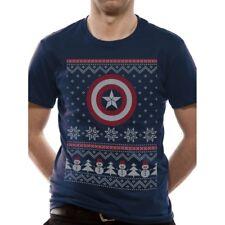 Unisex Official Marvel Captain America Fair Isle Christmas Logo T-shirt XL