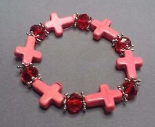 Christian Bracelet MINIATURE CROSSes Matched Facet Crystal Accent Bead SALMON