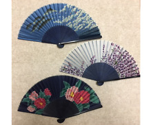Fuji and floral folding fan (SENSU), 3 pieces from JAPAN