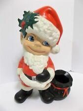 "Vintage Atlantic Mold Ceramic Blue Eyed Smiley Boy Santa Claus Suit 11"" Tall"