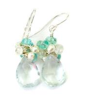 Aquamarine Earrings Sim Aqua Blue Sterling Silver Cluster Pearl Moonstone Quartz