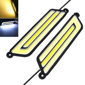 2x Flexible Dual LED Daytime Driving Light white+amber Lamp Car DRL accessories