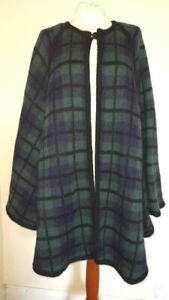 Vintage Excel Mohair wool Cape Poncho GREEN BLACK TARTAN ONE SIZE