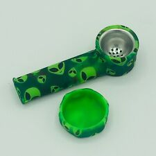 Silicone Smoking Pipe with Metal Bowl & Cap Lid | Green Alien | Usa