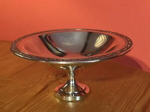 Vintage Silver Plated Oneida Pedestal Bowl Flower Decoration on Rim 19cm
