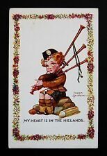 WW1 Postcard Scottish Girl Soldier Bagpipes Ave Rd Brentwood Essex CM14 Spurgin