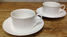 Mikasa Hampton Bays White Embossed Shells Ultra Cream 2 Cup Saucer Sets DY900