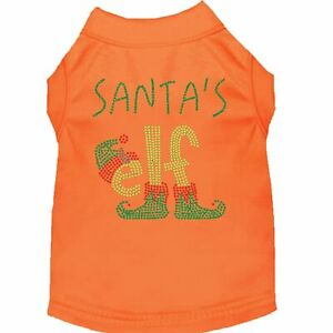 Mirage Pet Products Santa's Elf Rhinestone Dog Shirt Orange XS (8)