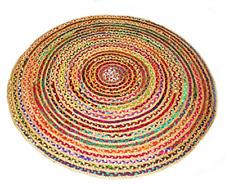 Jute & Cotton Rug Hand-woven Reversible Jute Flat Floor Carpet 8 Feet Round Rugs