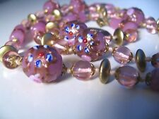 """Venetian Wedding Cake Hand Knotted Glass Bead 29"""" Necklace Italy"""