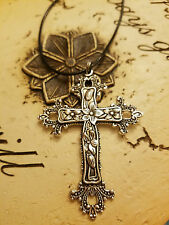 Large Scroll Cross Necklace, Easter, Religious Pendant, Antique Silver or Bronze