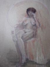 26.Étude de femme nue. Dessin au fusain ou mine (fond Artiste Vershaeve) 50x38